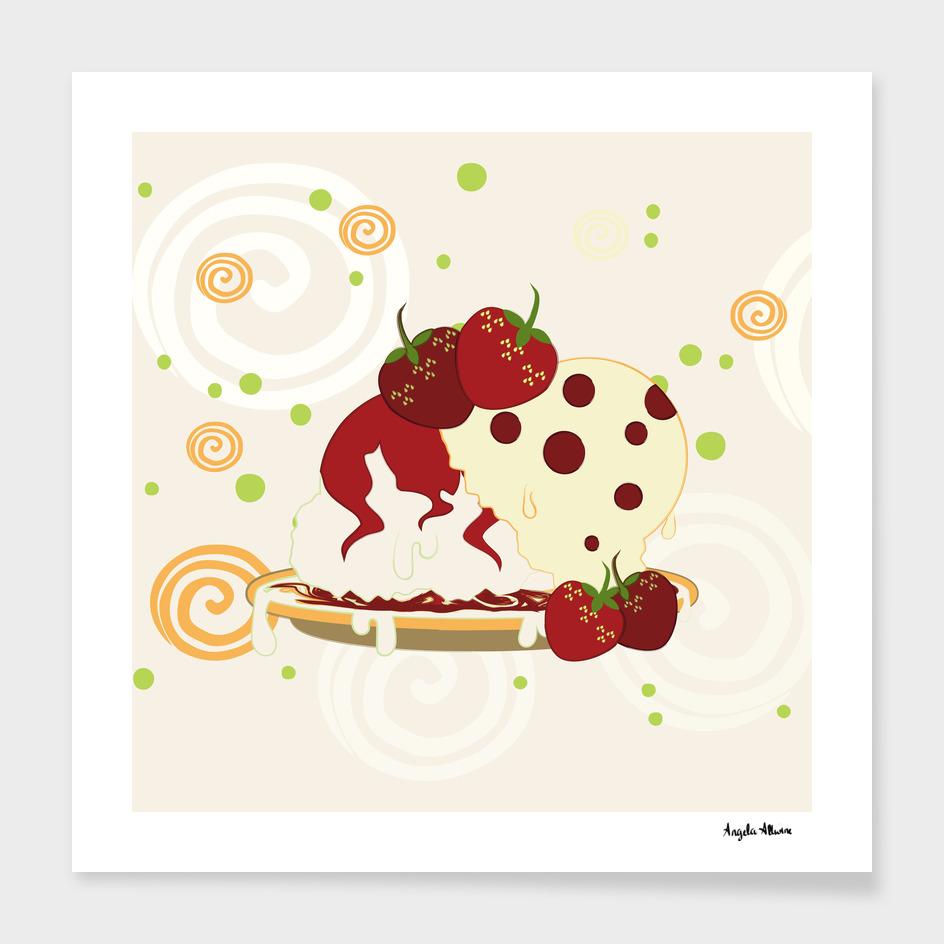 Summer Strawberries And Ice Cream Art