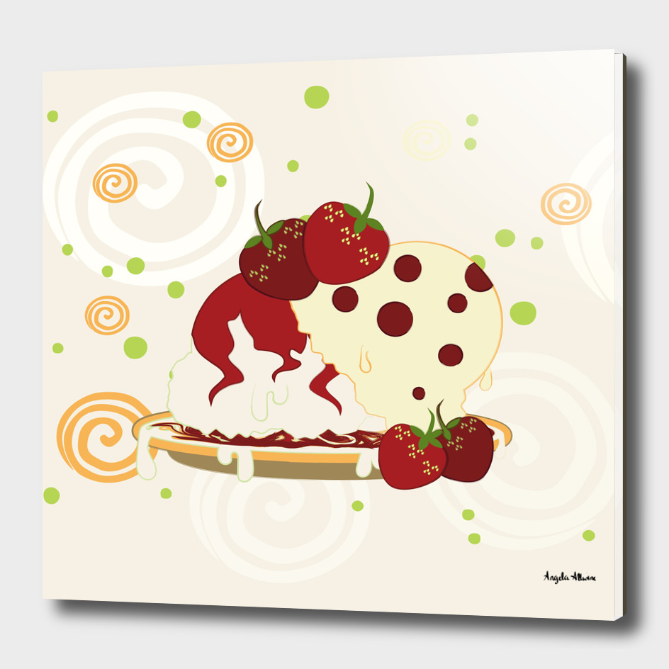 Summer Strawberries And Ice Cream Art