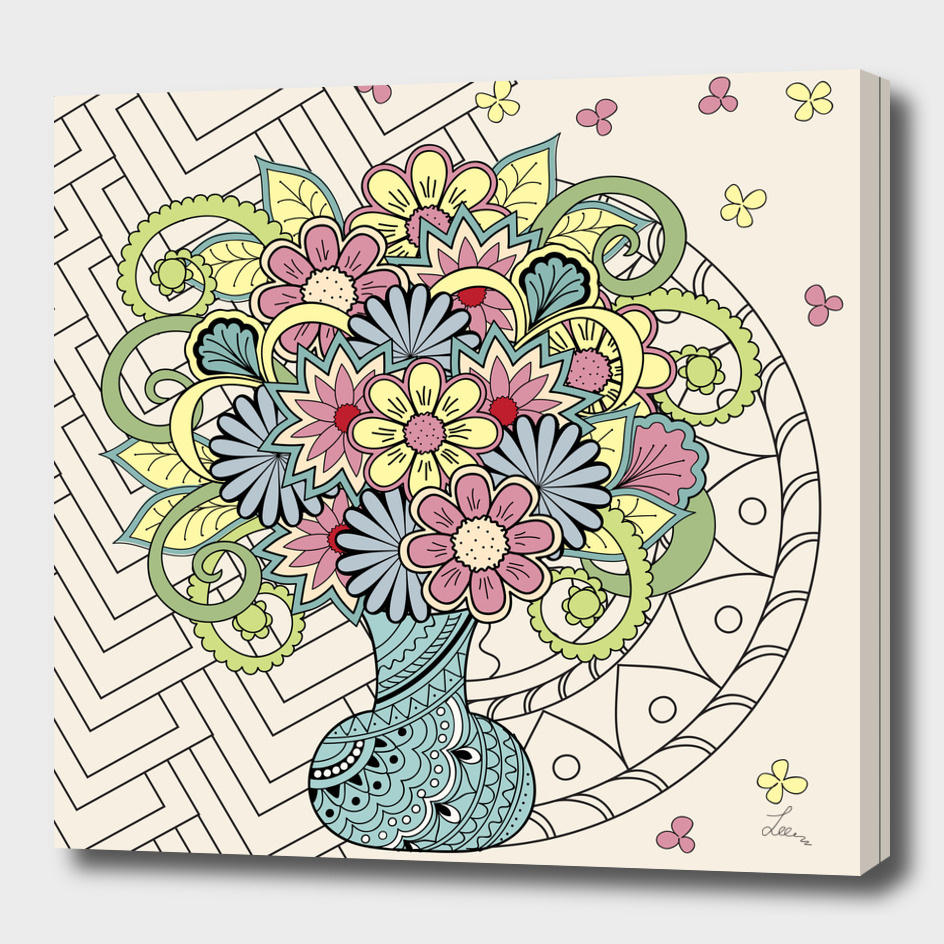 Decorated vase with flowers