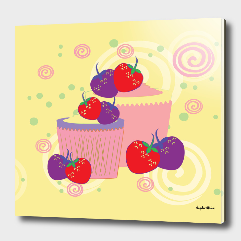 Bright Strawberries And Cupcakes Art