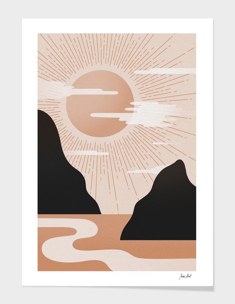 Morning rise I, Mountain illustration, Sunrise