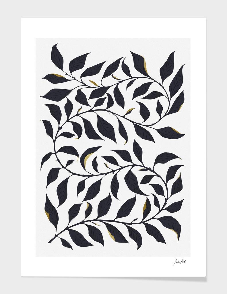 Inked leaves, fauna painting, illustration