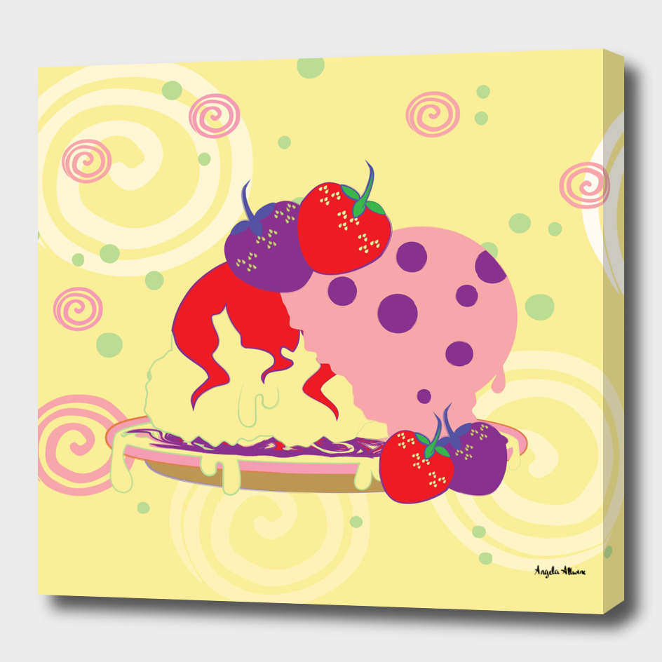 Bright Strawberries And Ice Cream Art