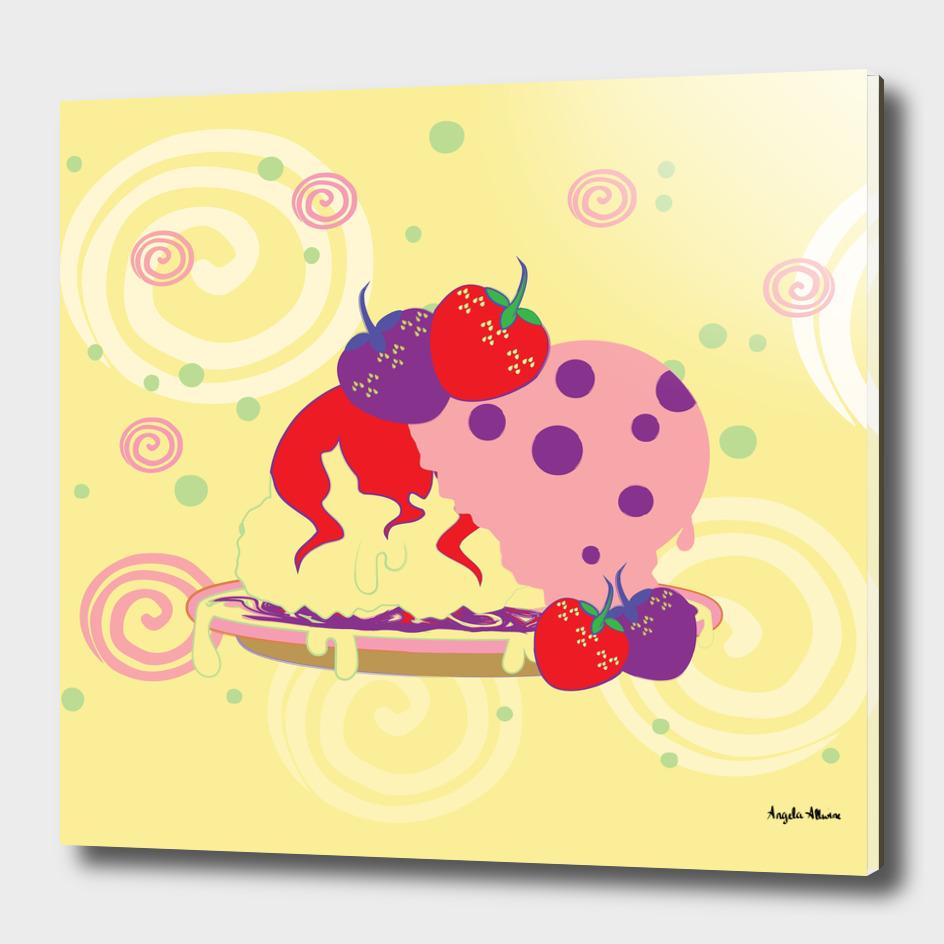 Bright Strawberries And Ice Cream Art