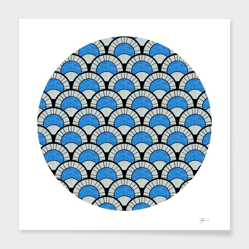 Aqua Glitter Deco Circular