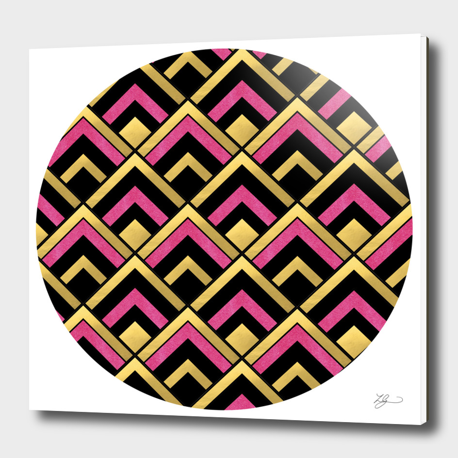 Black, Gold and Pink Deco Inspired Circle