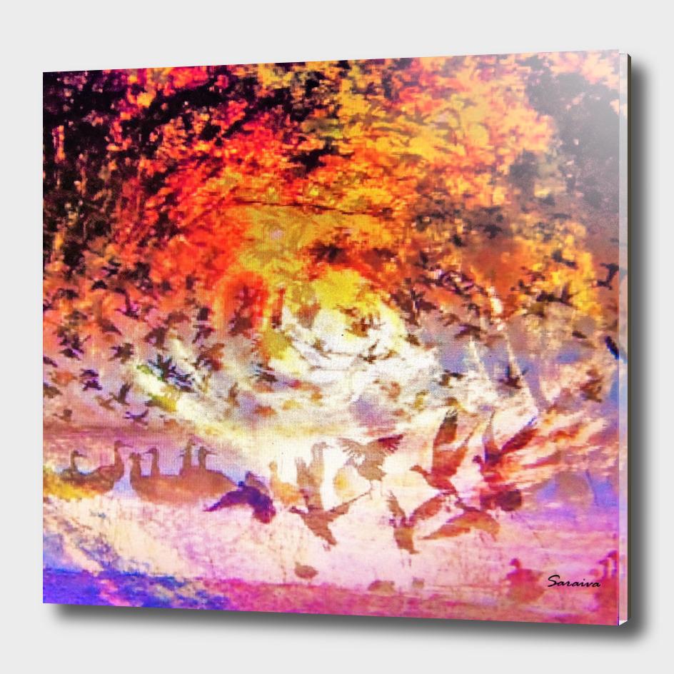 Les oiseaux en tourbillon