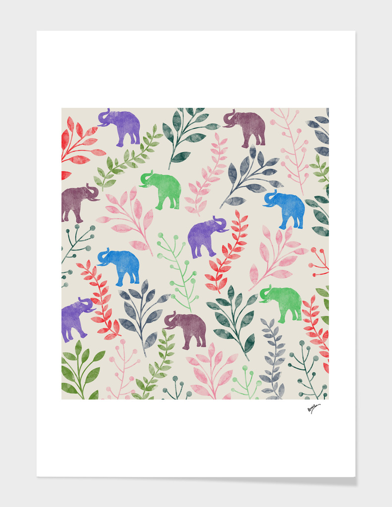 Watercolor Floral & Elephant  IV