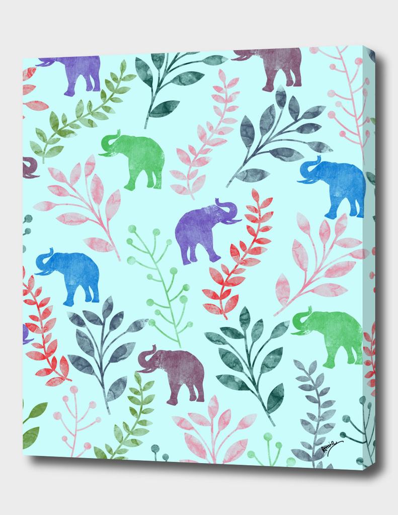 Watercolor Floral & Elephant  III