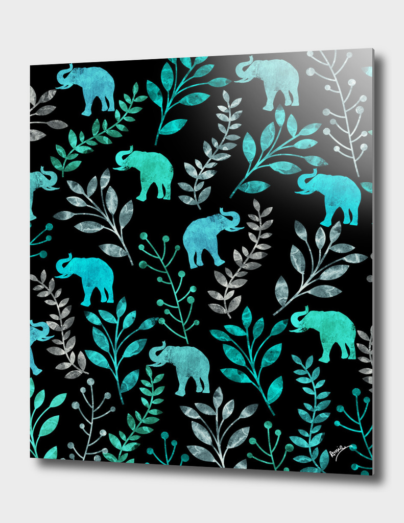 Watercolor Floral & Elephant  II