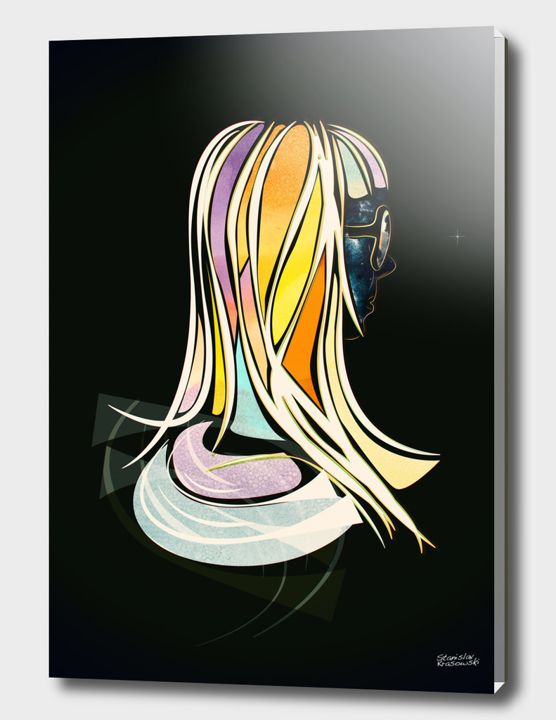 Color Hair Vector Poster Girl