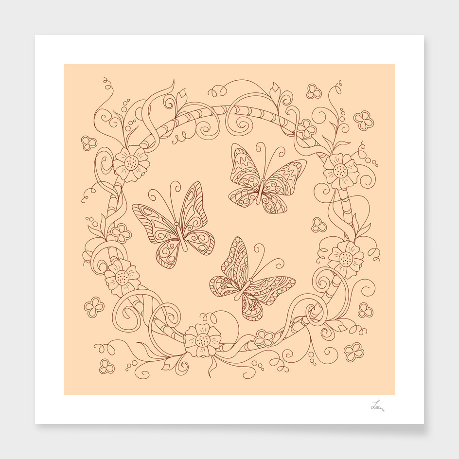 butterflies into mandala of flowers