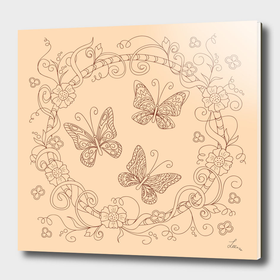 butterflies into mandala of flowers