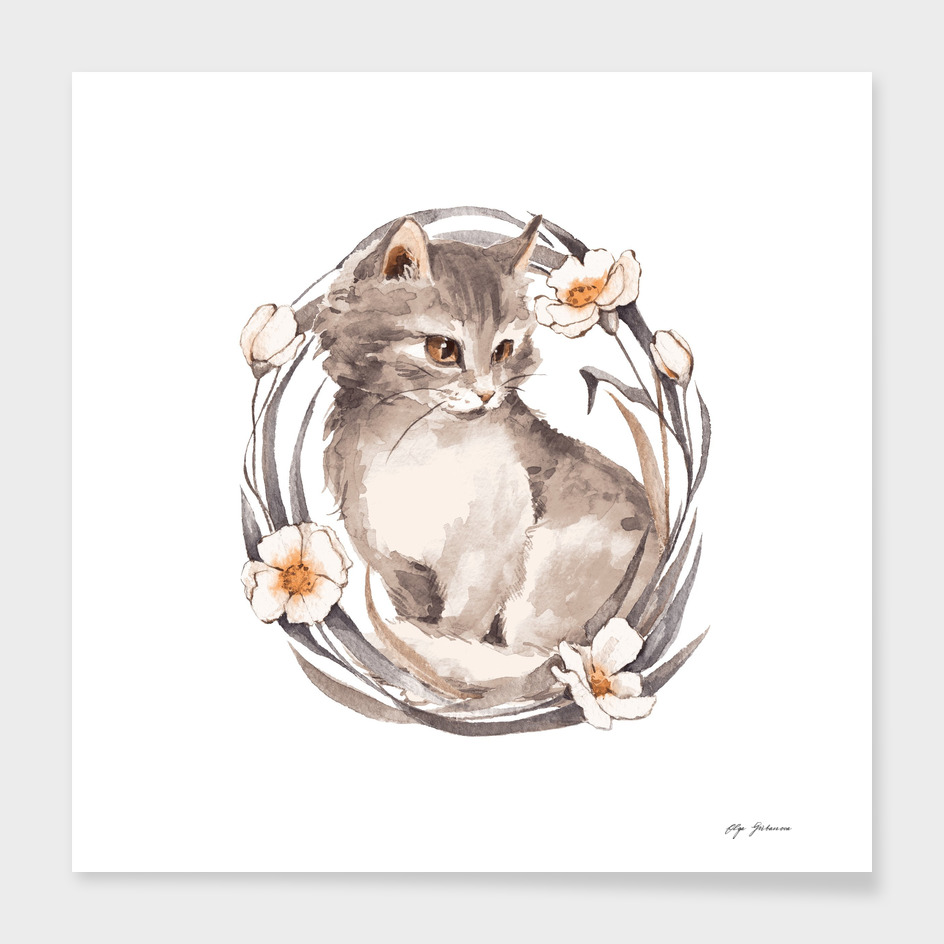 Kitten and flowers