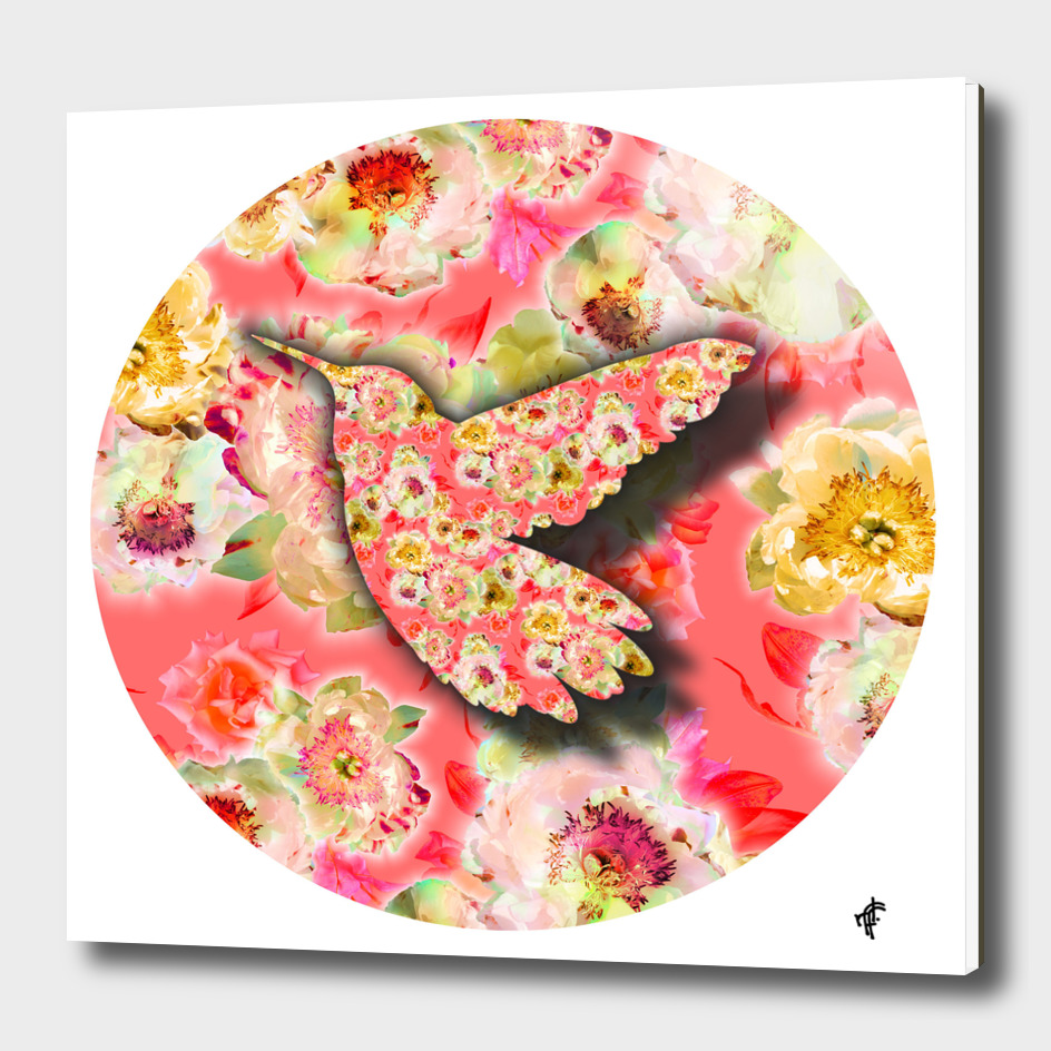 Hummingbird on Fancy Florals