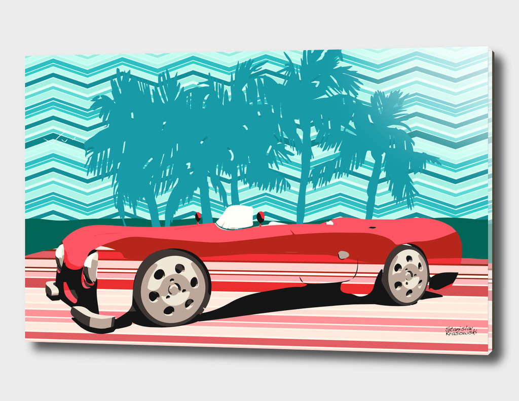 Vintage Stipes Retro Car Poster