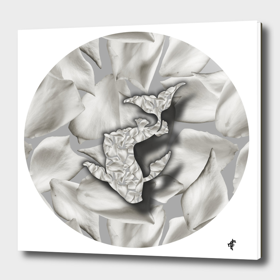 Koi fish on Floral Silver