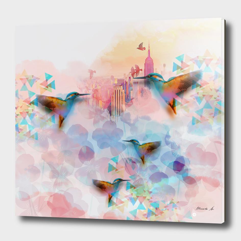 Digital fantasy hummingbird