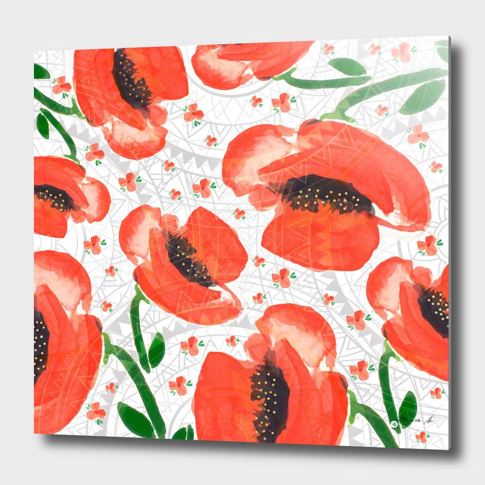 Geometric mandala and flowers