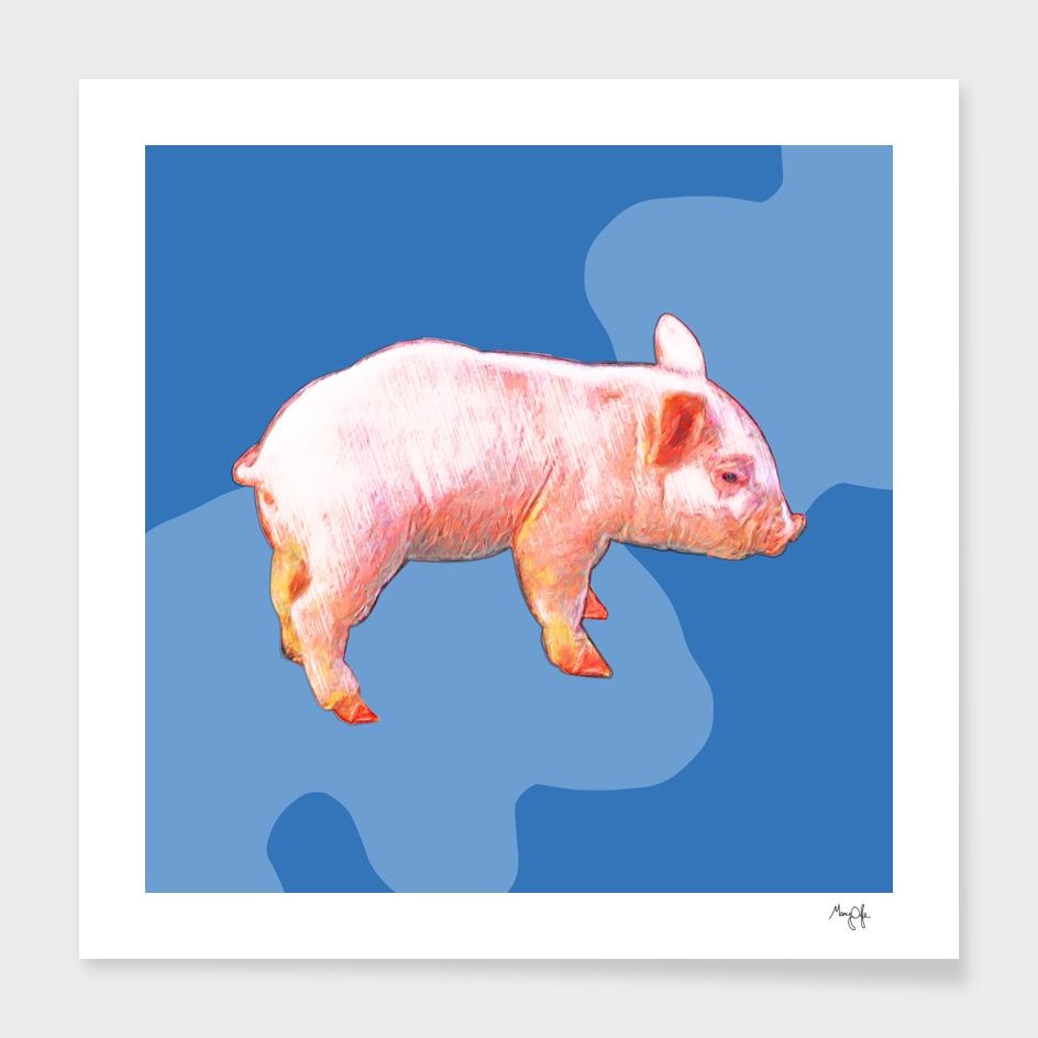 Piglet on Blue