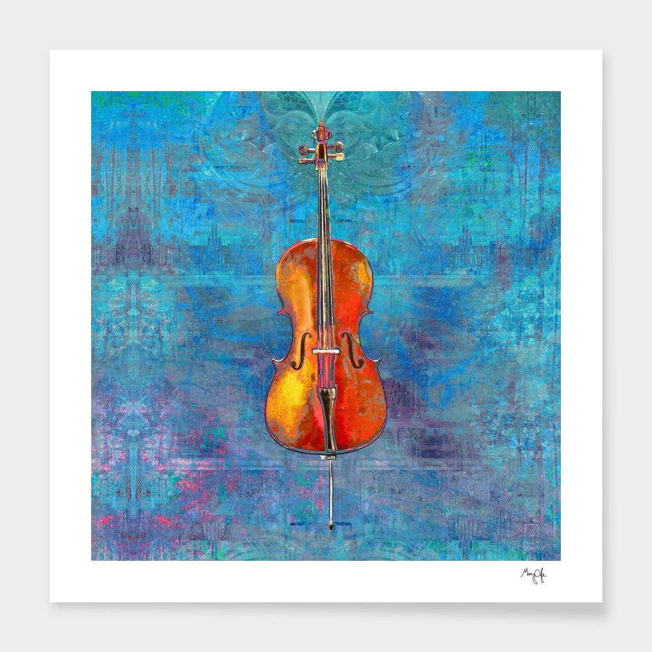 Cello on Blue