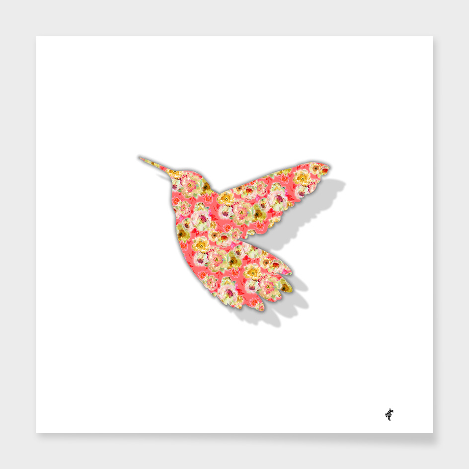 Hummingbird in Fancy Florals