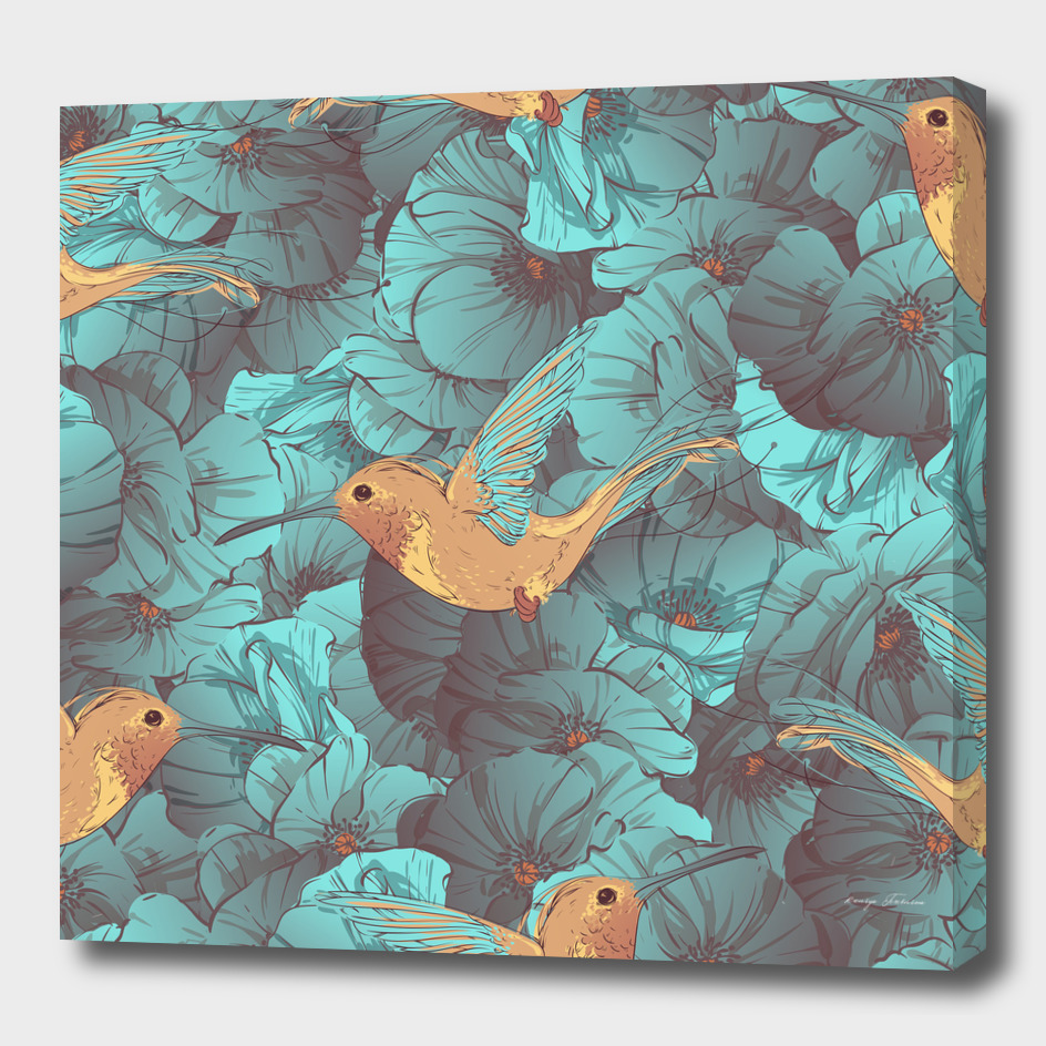 Tropical bird colibries and blue poppies seamless pattern