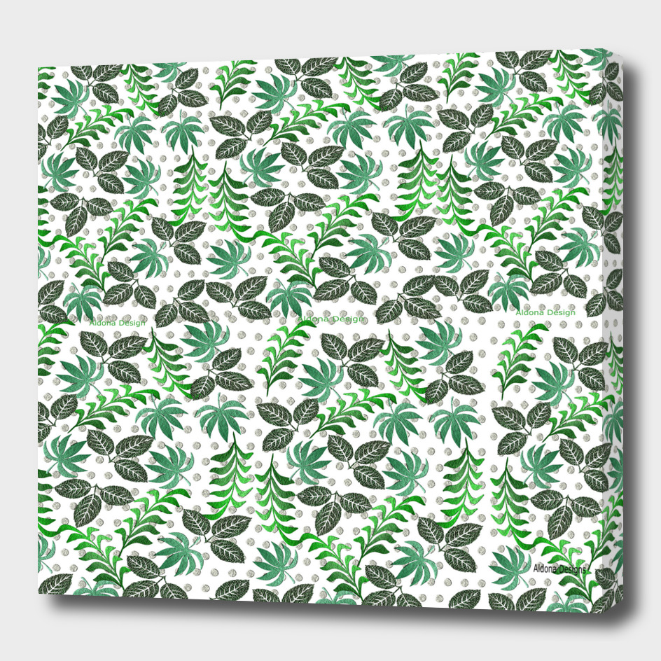 green leaf canvas effect
