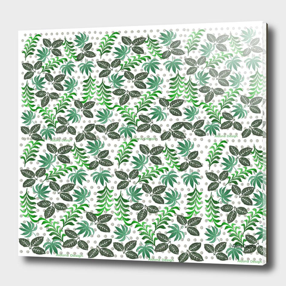 green leaf canvas effect