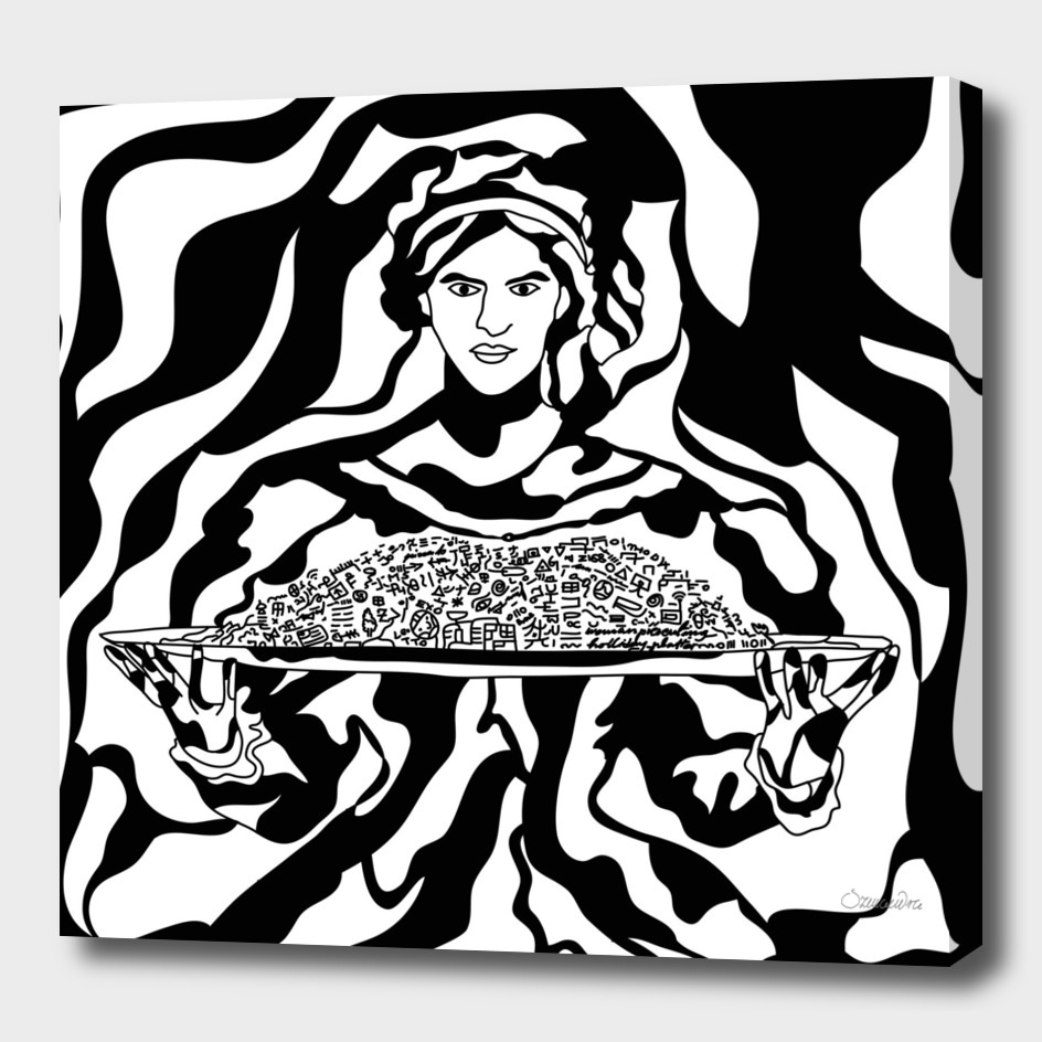 Woman presenting holiday platter