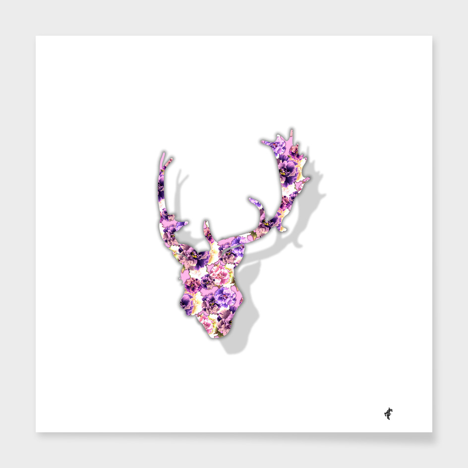 Deer in Purple Peony