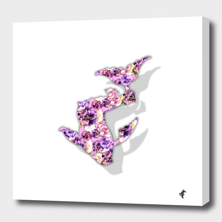 Koi Fish in Purple Peony