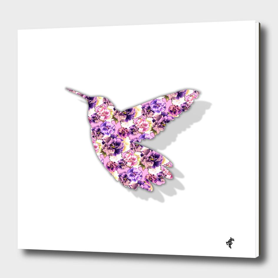 Hummingbird in Purple Peony