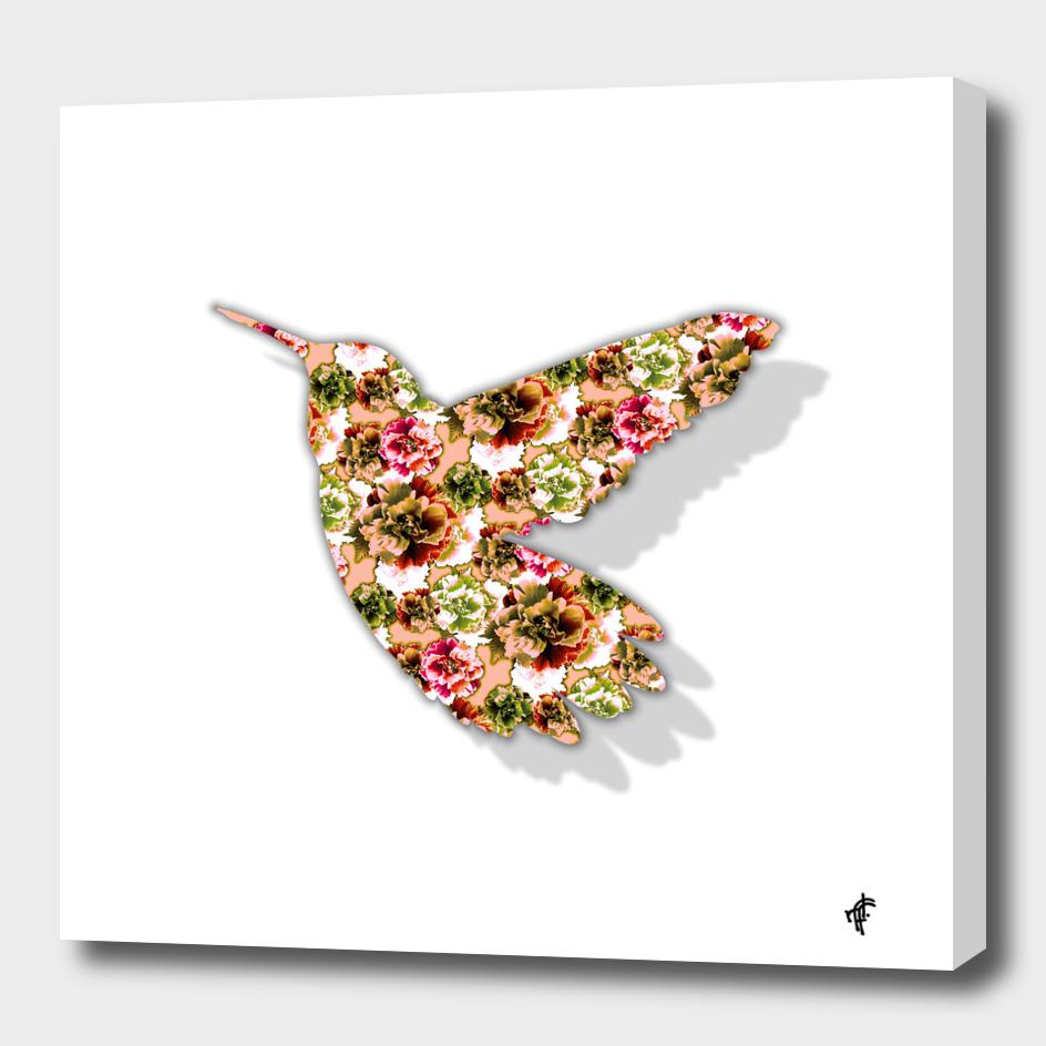 Hummingbird in Floral Retro