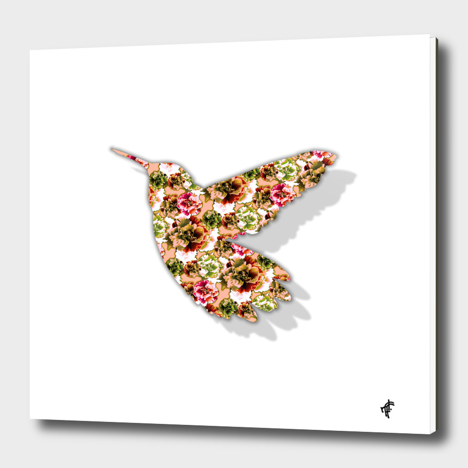 Hummingbird in Floral Retro