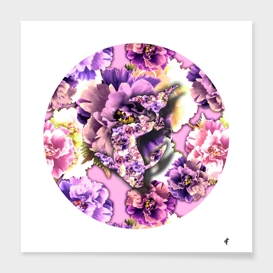 Koi Fish on Purple Peony