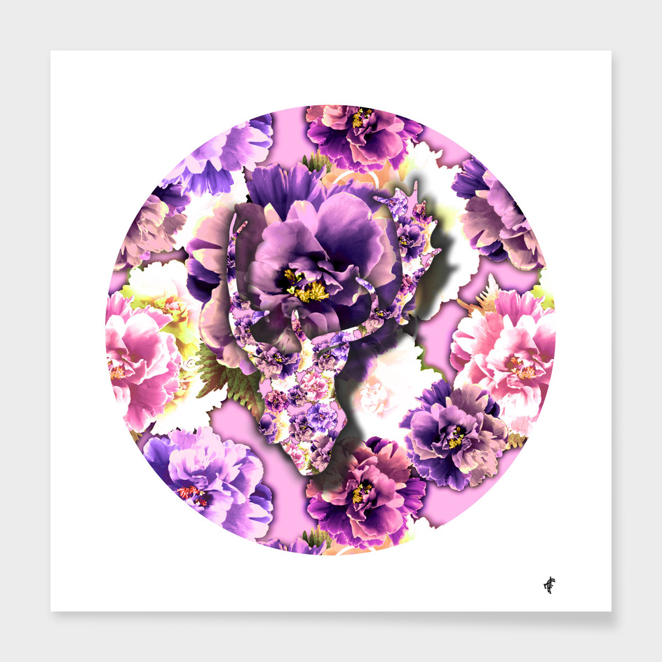 Deer on Purple Peony
