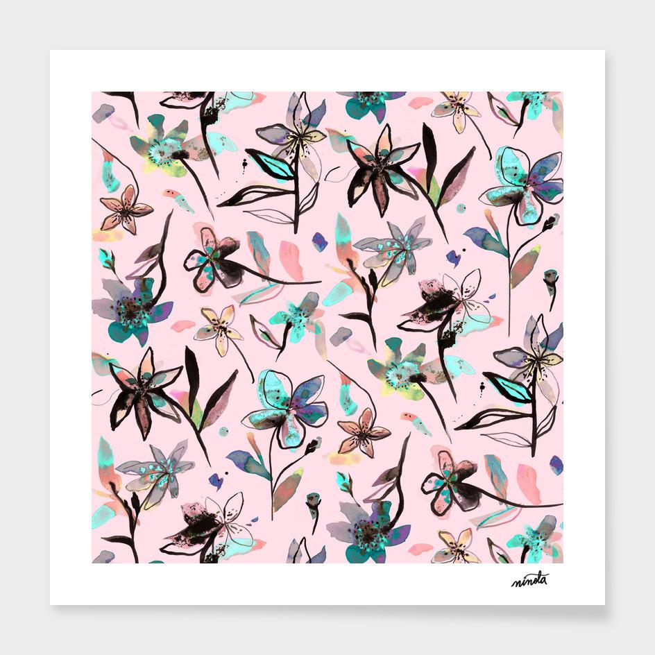 Ink flowers - pale rose