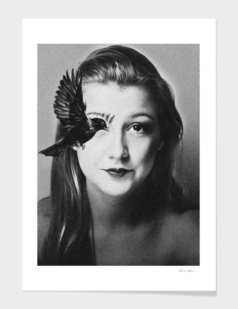 woman and bird