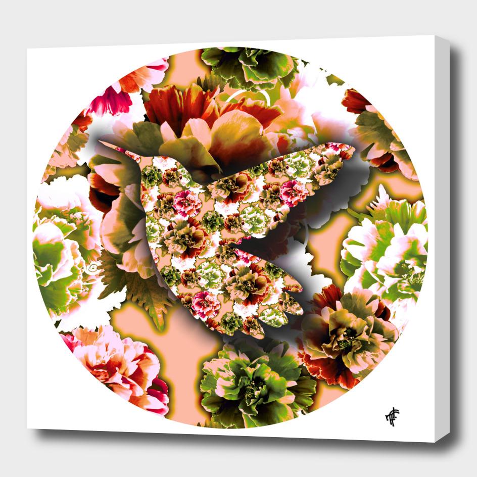 Hummingbird on Floral Retro
