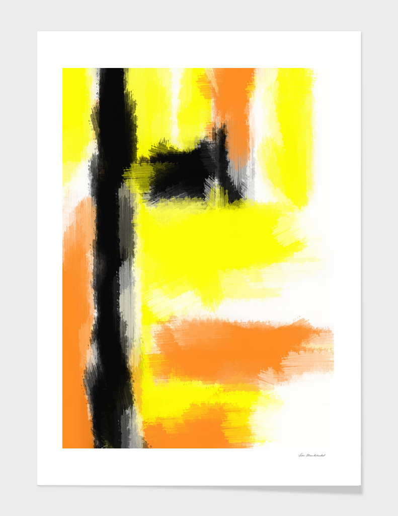 orange yellow and black watercolor splash painting abstract