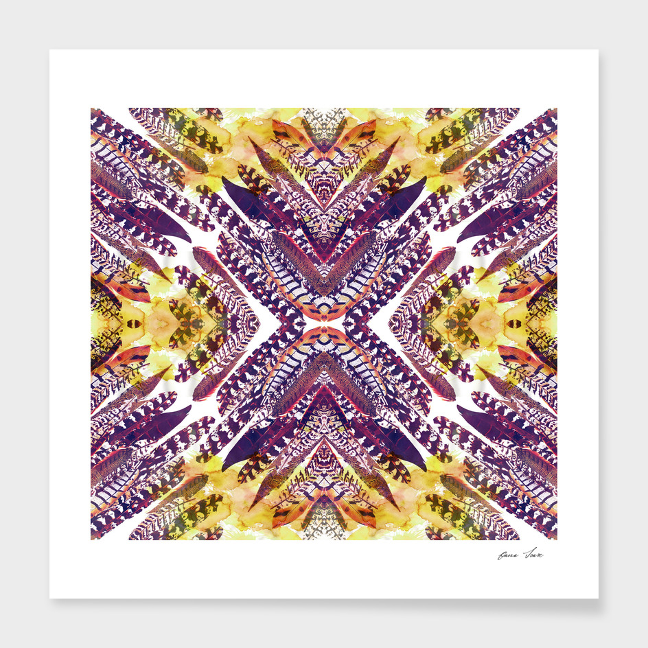 Painted Feathers mirrored pattern