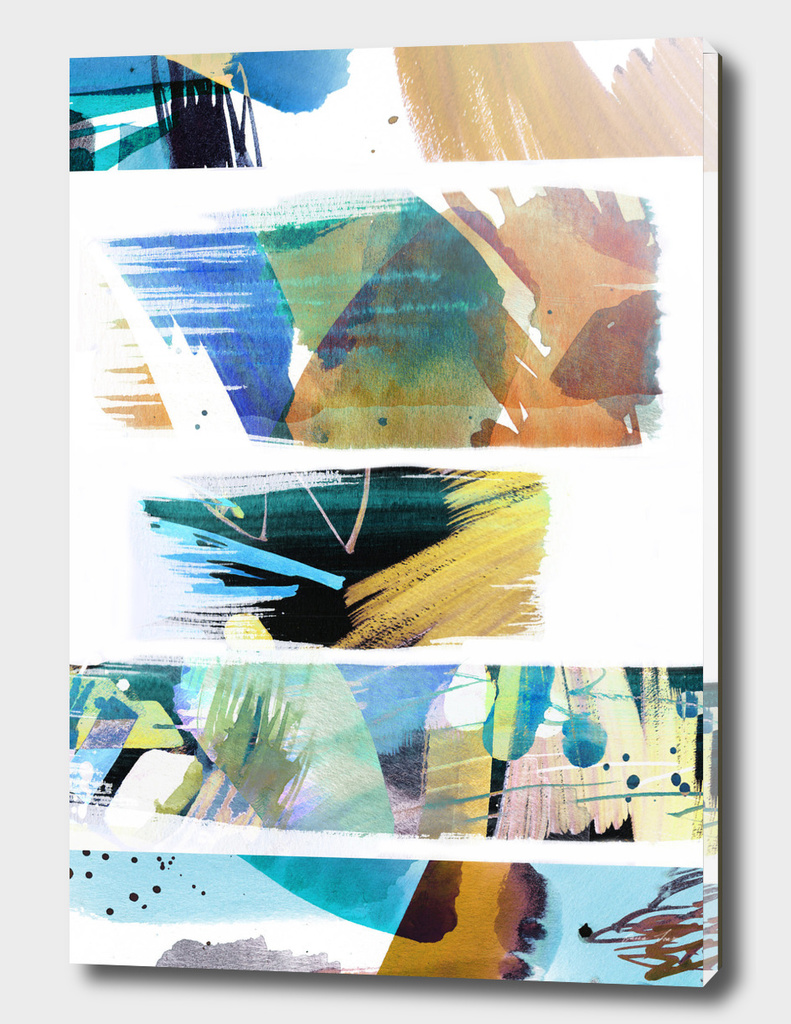 Watercolor paint brushes on white