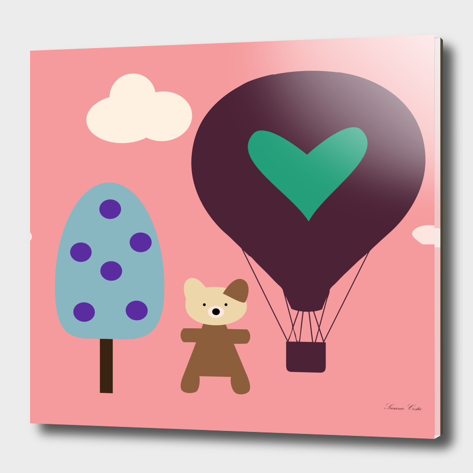 air ballon pink bear