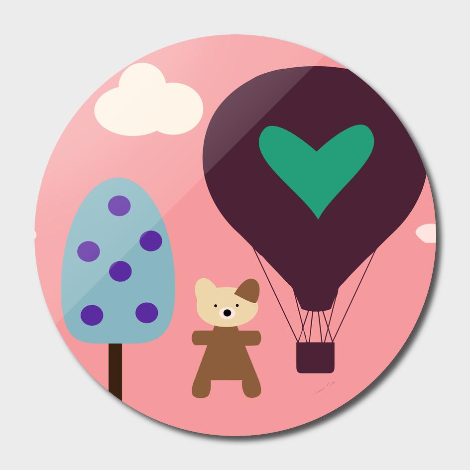 air ballon pink bear