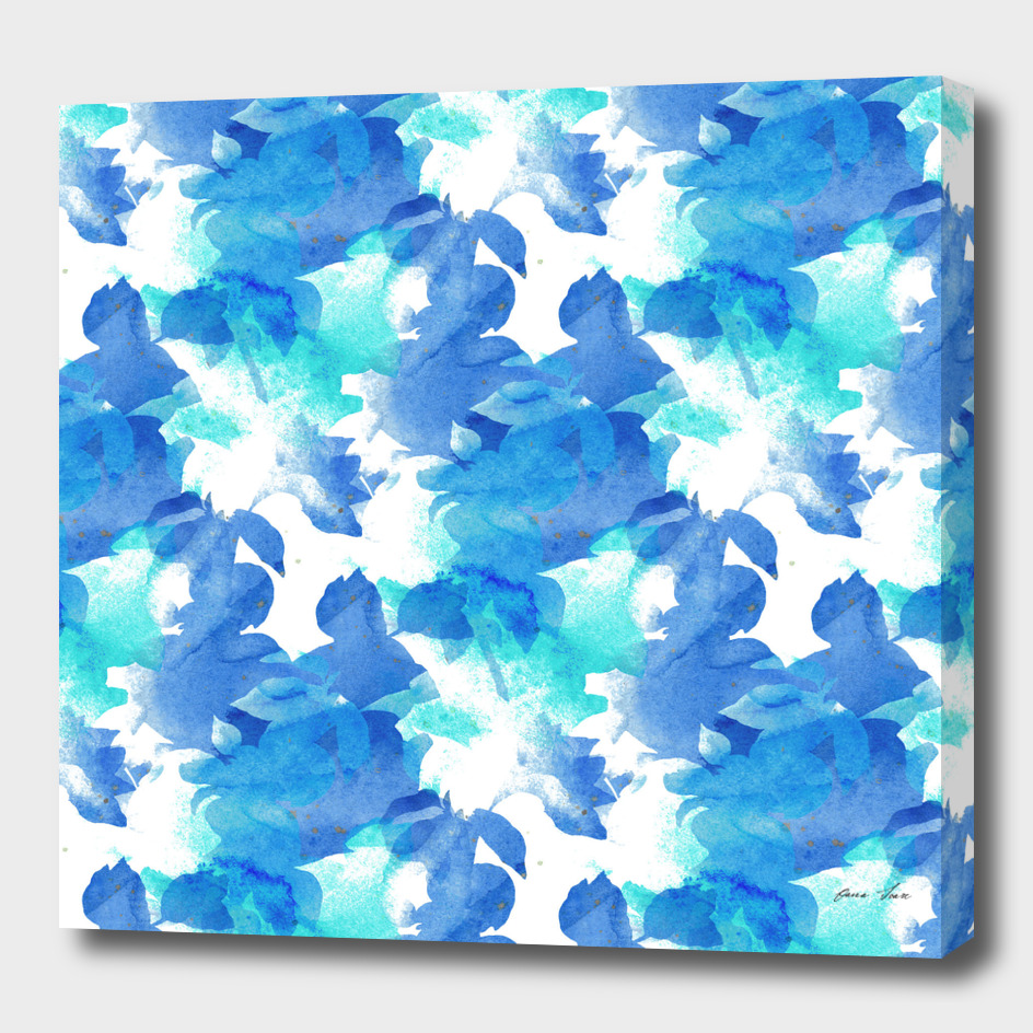 Blue Watercolor Foliage Pattern