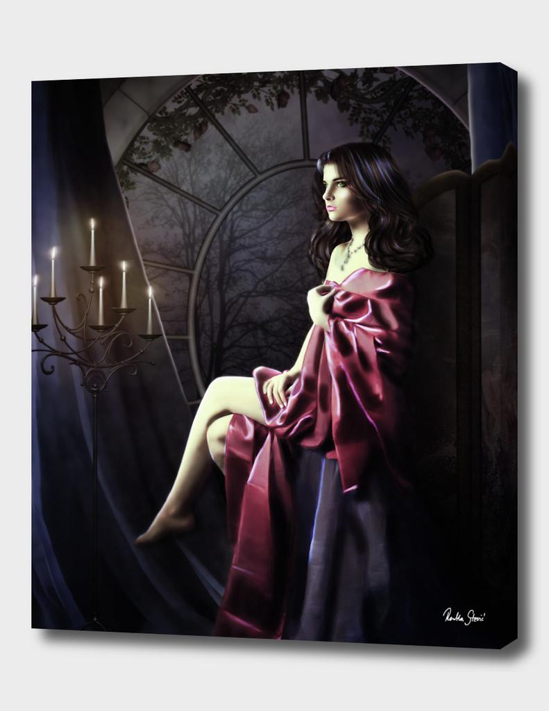 Beauty in red drape