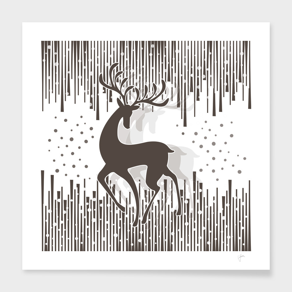 Dancing Deer - Black & White