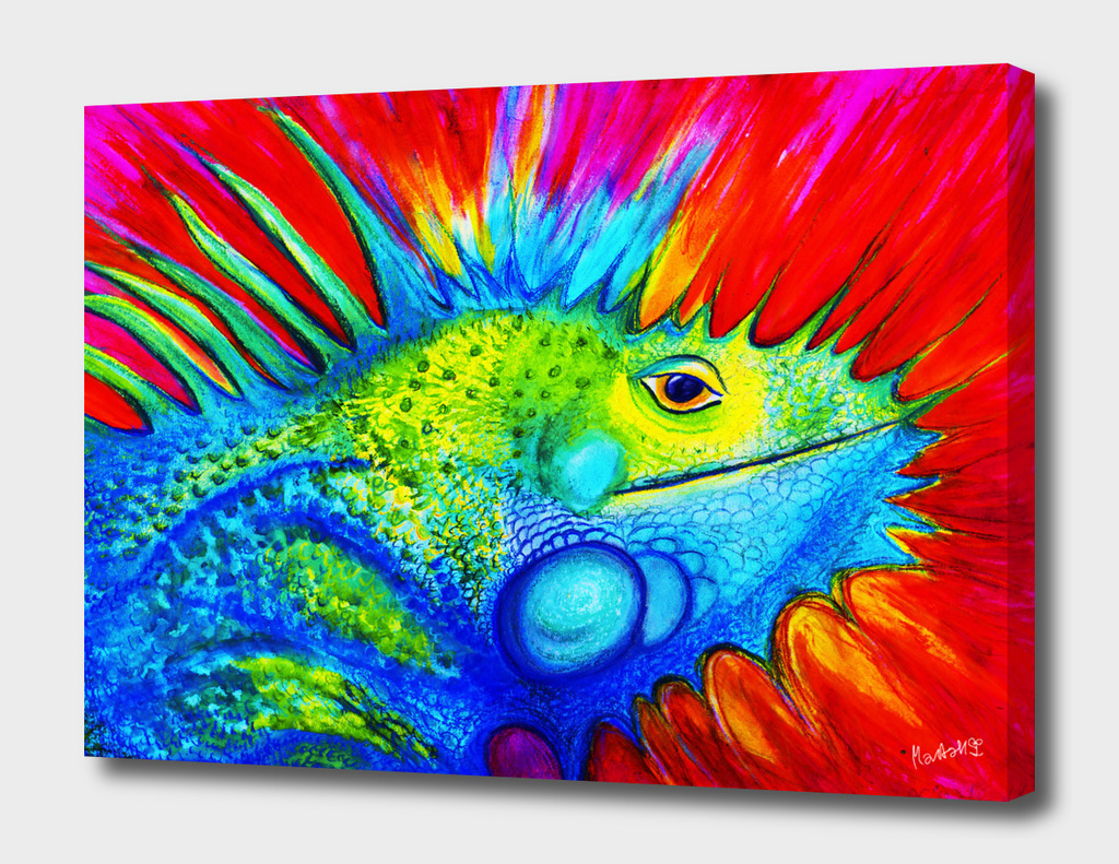 Iguana aquarell in Red Rain_CRAFTIESPOT