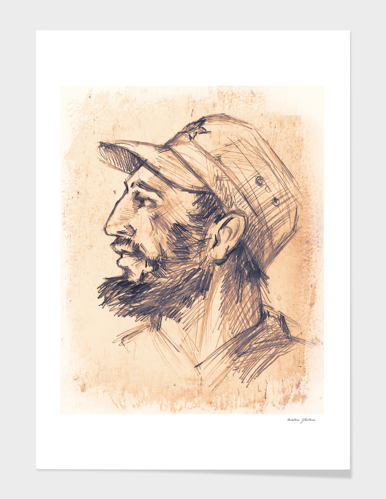 Portrait of Fidel Castro.